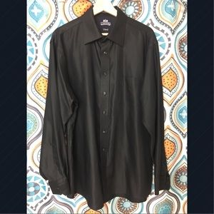Stafford Wrinkle Free Fitted Black Dress Shirt